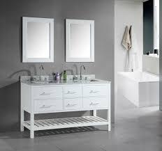 element contemporary bathroom vanity set: rectangular bathtub design feats modern bathroom vanity with open storage idea and beautiful wall mirrors