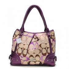 Coach Poppy In Signature Medium Purple Totes AEG