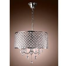 crystal chandelier ceiling light pendant fixture drum lamp shade 4 lights vp
