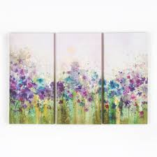 graham brown 12 in x 24 in watercolor meadow by graham and brown printed canvas wall art set of 3 40 242 the home depot