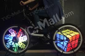 diy programmable cartoon style ipx6 colorful 128 led bike cycling wheel light eu plug