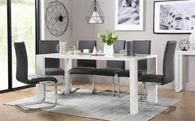 eden 170cm white high gloss dining table with 4 perth grey chairs