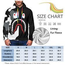 Unisex 3d Bape Blood Shark Poster Plus Velvet Hooded Sweatshirt Casual Pullover Hoodie With Pocket