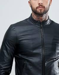 armani jeans fine textured leather biker jacket d55v4 for men