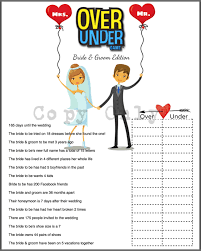Bridal Shower Game Over Or Under Bride Trivia By 31flavorsofdesign Friends Tv Show Trivia Bridal Shower Game Printable Friends Trivia Quiz Bridal Shower Game The One With All The Weddings