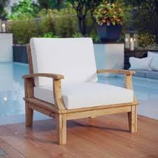 Belle Glade Teak Outdoor Patio Arm Chair with Cushion