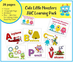 Cute Little Monsters Abc Learning Printable Package Mini Flip Chart
