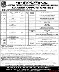jobs in technical educational and vocational training authority jobs in technical educational and vocational training authority sargodha and khushab tevta