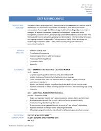 Chef Resume Samples Resume For Your Job Application