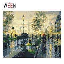 2019 <b>WEEN</b> Paris <b>Diy</b> Painting By Numbers Abstract Rainy <b>Street</b> ...