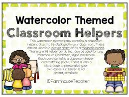 Classroom Helpers Pocket Chart Watercolor Themed Classroom Helpers For Pocket Chart Or Magnetic Board