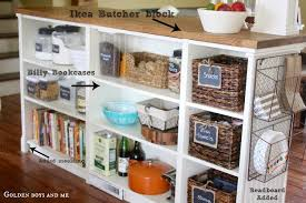 diy kitchen island made from billy bookcases