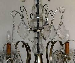 6 arm silvered brass vintage chandelier