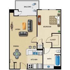 Plan B 1 Bed 1 Bath Floorplan   The Medici Apartments