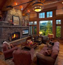 cozy living room with fireplace. Striking Classic House Interior With Wooden Material: Cozy Living Room Stone Fireplace Koselig Hus Residence .