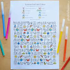 free printable summer find and colour