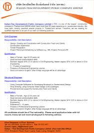 Italian Thai Job Offer International Affairs And Corporate