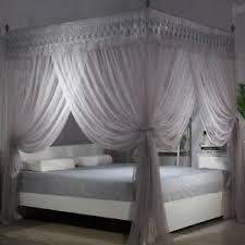 Details about Bed Mosquito Nets Double Layer Canopy Set Curtain Frames Wedding Bed Decoration