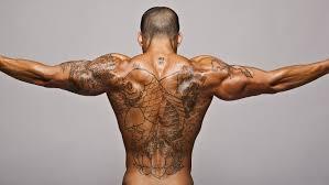 мужчина спина татуировки тату рыба загар мышцы рельеф Hd обои для