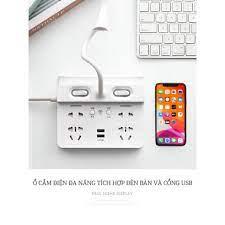 Ổ cắm điện đa năng tích hợp đèn bàn và cổng USB tiện dụng