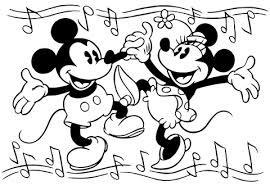 踊るミッキーとミニー ぬりえ