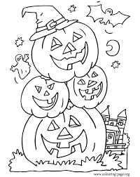 Small Picture Halloween Bat ghost and halloween pumpkins coloring page