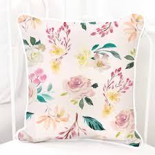 Square Pillow Cover Brielles Blush Blooms