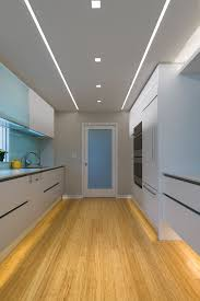 image of square recessed lighting trim hallway