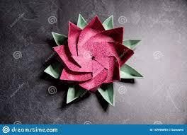 Paper Lotus Flower Pink Origami Lotus Flower Paper Art On Textured Background