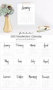 Free 2015 Handwritten Calendar Printable