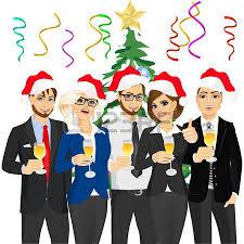 office party: Geschftsleute Gruppe Sankt-Hte auf  Unternehmensweihnachtsparty tragen Illustration