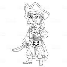 Schattige Jongen In Piraat Kostuum Met Een Pompoen Tas Voor Snoep