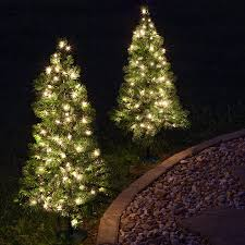 outdoor decorations 2 walkway pre lit winchester fir tree 50 clear lamps