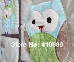whole happy owls and friends baby nursery crib bedding set boy cot set embroidered quilt per sheet dust ruffle bed kit little girl bedding sets twin