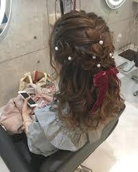 三連編み込みパールリボン 可愛らしいヘアスタイルです パール