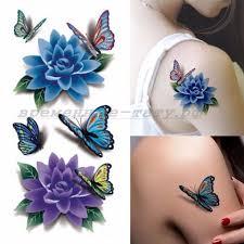 переводная тату купить временная татуировка 3d цветы и бабочки 33579 в магазине