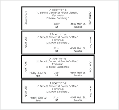 Show Ticket Template Fundraiser Ticket Template Free Download Concert Tickets Template