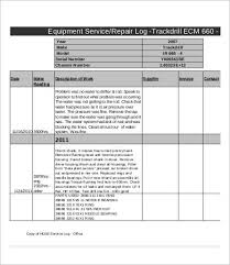 Equipment Service Log Template Equipment Log Template 9 Free Word Excel Pdf Format