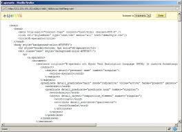 The source code of the web page in HTDL, a combination of the HTML ...