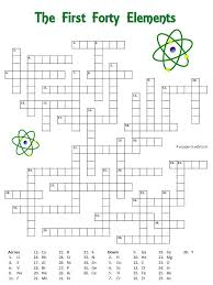 crossword puzzle with the first forty elements the clues are the symbols easy for