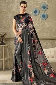 Stunning Designer Sarees Breathtaking Grey Designer Saree With Print