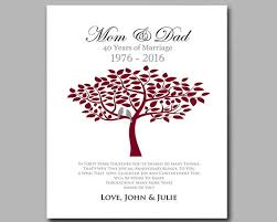Wedding Anniversary Color Chart Ruby Wedding Anniversary Personalized Anniversary Gift For Parents Add Any Wording Of Your Choice
