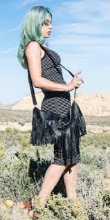 home black leather fringe purse