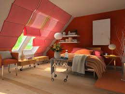 Splendid Red Wall Painting Attic Bedroom Color Schemes With Folding Over  Valance Windows Treatments As Well As Removeable Tables Added Floating  Shelves ...