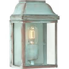 victoria single light solid brass outdoor wall lantern in verdigris