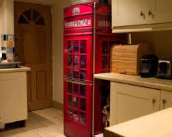 refrigerator box. refridgetor with decals | red uk telephone box vinyl cover for refrigerator or freezer: full