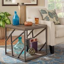Lincoln Metal Contemporary Distressed Wood Coffee Table or Side Table by  iNSPIRE Q Classic (Coffee