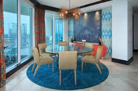 modern ecletic decor round glass table
