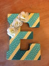 diy wall art painted wooden letter with stripes glitter and flowers added for embellishment wooden letter e hobby lobby paint lemon ice and aqua  on wall art wooden letters with diy gift ideas decorated wooden letters the home depot