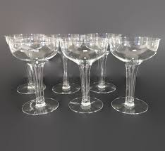 new to revendeur on set of six vintage champagne coupes hollow stem champagne glasses retro barware elegant glassware midcentury glassware